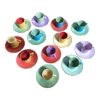 Multi-Colored Apilco Espresso Cups by Yves Deshoulieres, Made in France - Set of 12, 24 Pieces For Sale