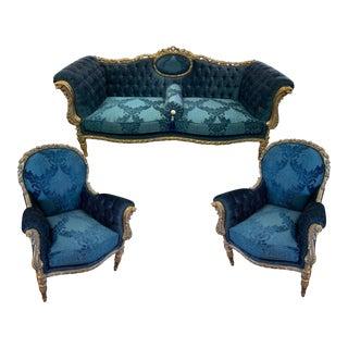 Louis XVI French Style Sofa Set- 3 Pieces For Sale