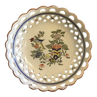 Vintage French Faience Pottery Compote Bowl For Sale