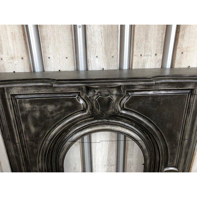 Antique Gothic Cast Iron Fireplace Mantel For Sale - Image 4 of 6