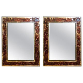 Pair of Monumental Tortoise Shell Beveled Bordered Console or Wall Mirrors For Sale