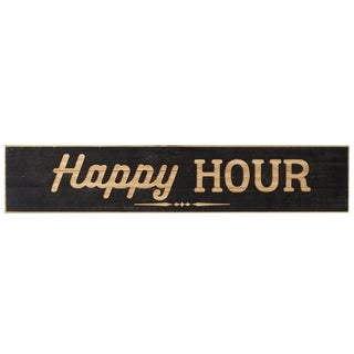 "Wooden Planked Carved "" Happy Hour "" Sign"