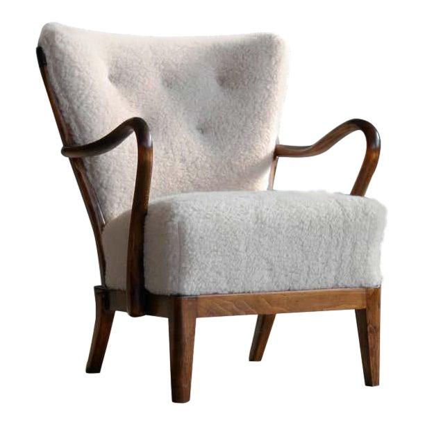 Slagelse Mobelvaerk Model 117 Lounge Chair in Lambswool Danish Midcentury For Sale