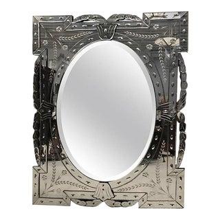 Large 1940s Italian Venetian Beveled Glass Mirror