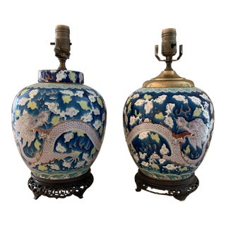 Pair of 19th Century Polychrome Porcelain Chinese Dragon Jars as Table Lamps For Sale