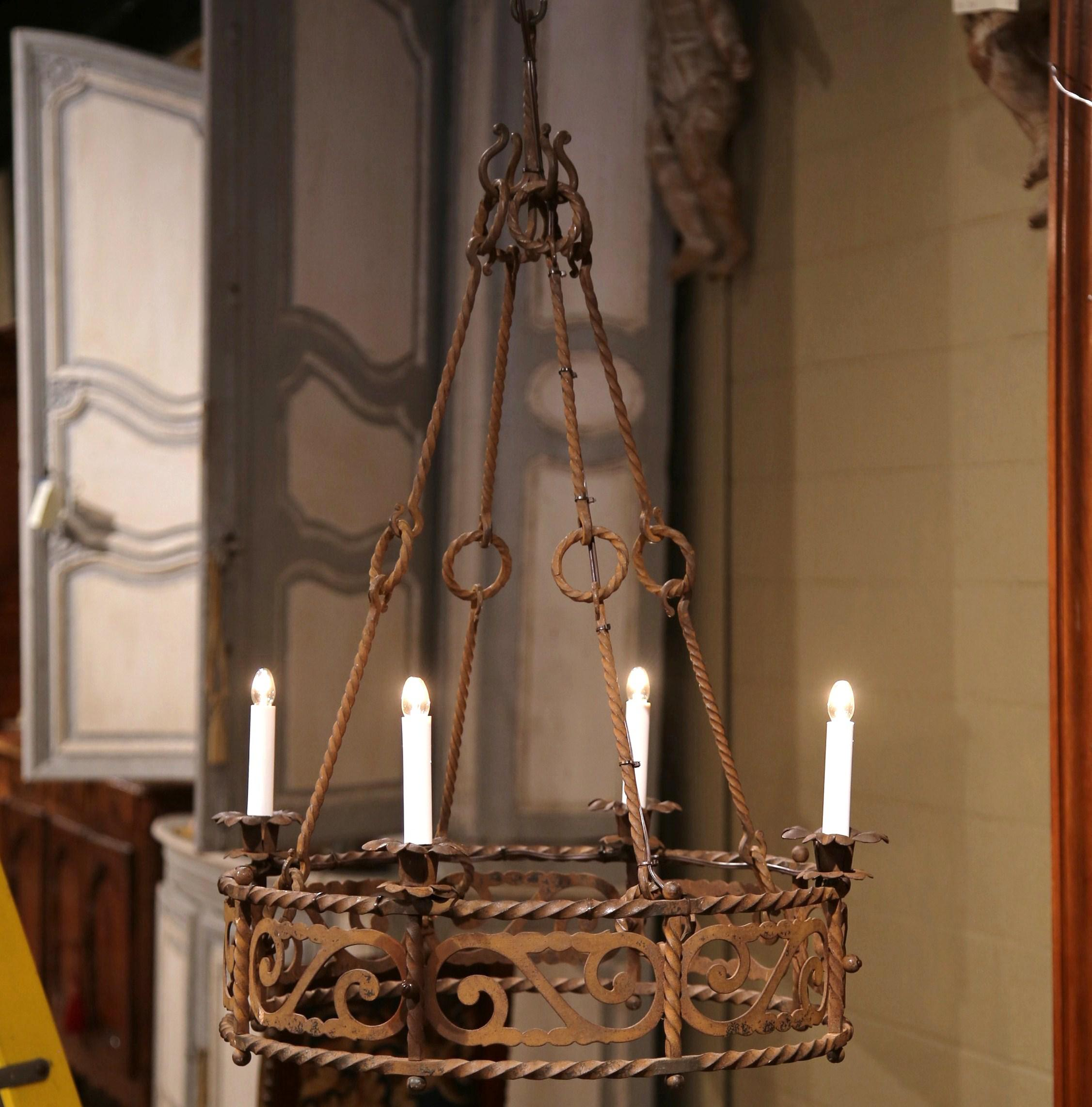 19th Century French Four-Light Gothic Rusty Wrought Iron Round Chandelier - Image 9 of & 19th Century French Four-Light Gothic Rusty Wrought Iron Round ...