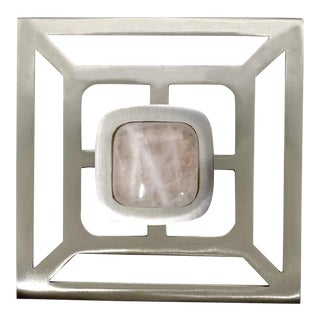 Addison Weeks Benson Pull with Backplate, Brushed Nickel & Rose Quartz For Sale