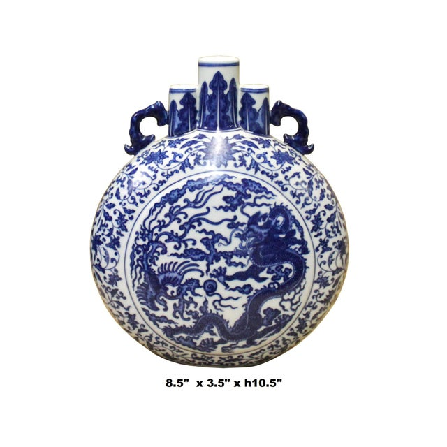Chinese Blue White Porcelain Dragon Phoenix Theme Flask Vase For Sale - Image 4 of 8