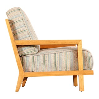 Vintage Mid Century Modern Solid Oak Lounge Chair For Sale