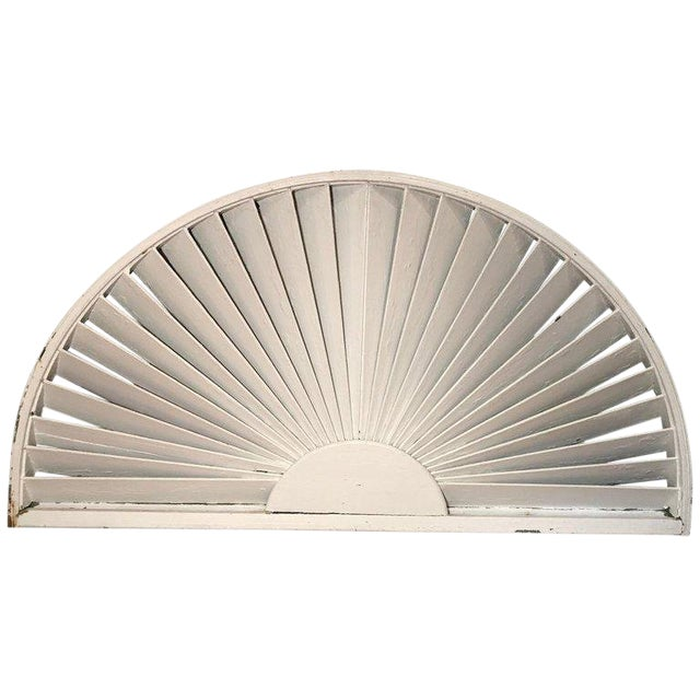 Antique Architectural Demilune Sunburst Window Fragment For Sale