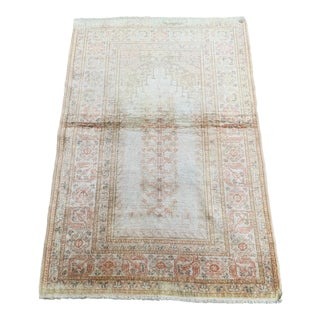 """Faded Palace Gate Design Silk on Cotton Handmade Rug-3""""x4'5"""" For Sale"""