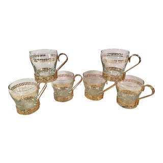 Gold Greek Key Espresso Coffee Glasses - Set of 6 For Sale