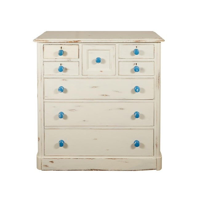 Wood English Painted Chest of Drawers With Blue Knobs For Sale - Image 7 of 7