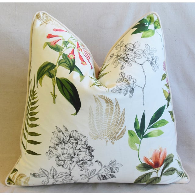 "Botanical Floral Fern Linen & Velvet Feather/Down Pillow 24"" Square For Sale - Image 4 of 8"