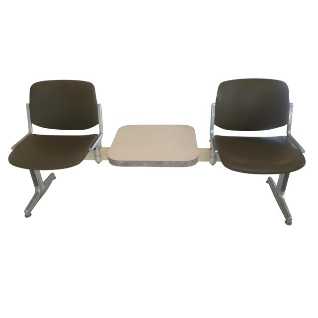 1970s Piretti for Castelli Anonima Airport Bench Seat in Olive Green For Sale - Image 9 of 9