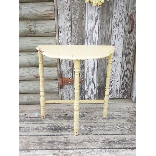 Vintage Yellow Half Moon Wood Side Table - Image 2 of 6