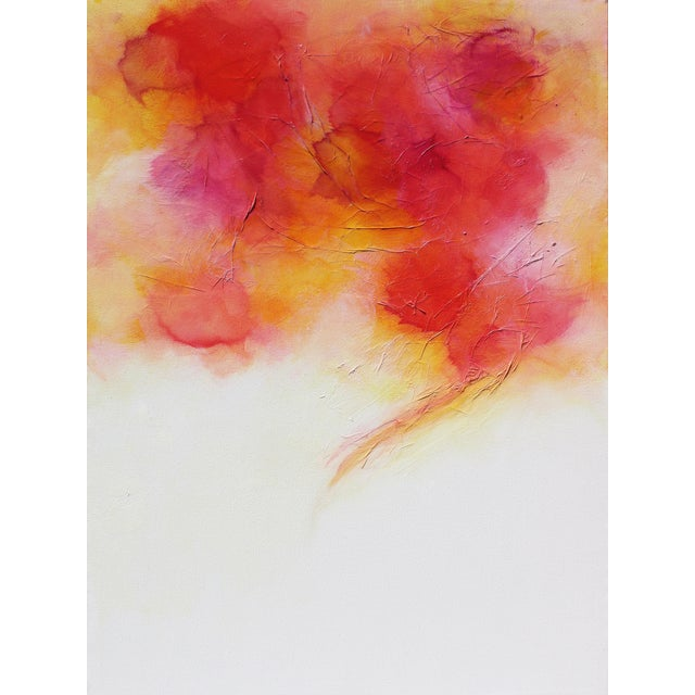 Colorful Bright Expressive Modern Abstract Original Wall Art Painting Red Pink Yellow Canvas For Sale