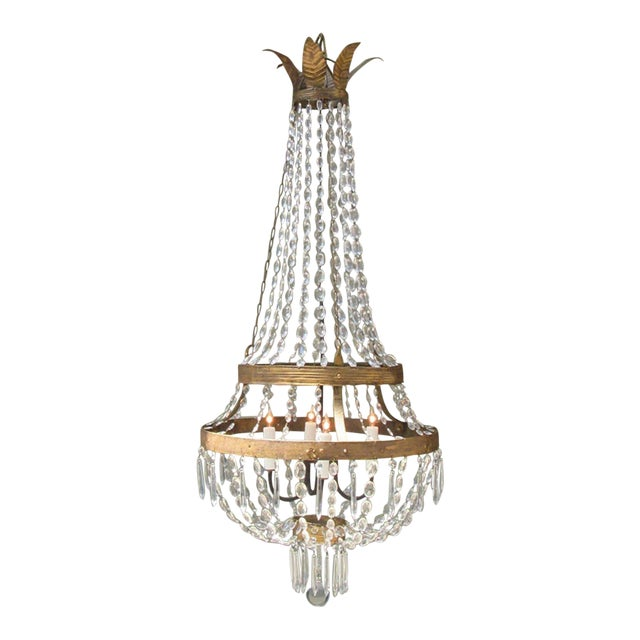 18th Century Italian Empire Iron, Crystal and Tole Basket Chandelier For Sale