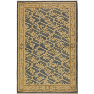 Kafkaz Sun-Faded Deja Lt. Blue/Tan Wool Rug - 4'2 X 6'1 For Sale