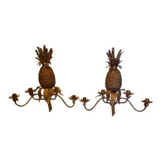 1970s Pineapple Motif Sconces - a Pair For Sale