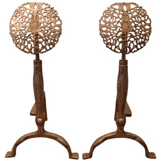 Ernest Gimson Style Arts & Crafts Andirons - a Pair For Sale