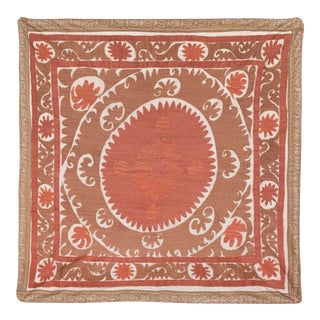 Neutral Red Suzani Uzbek Table Cloth - Wall Decor For Sale