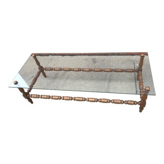 Vintage Farmhouse Spindle & Glass Coffee Table