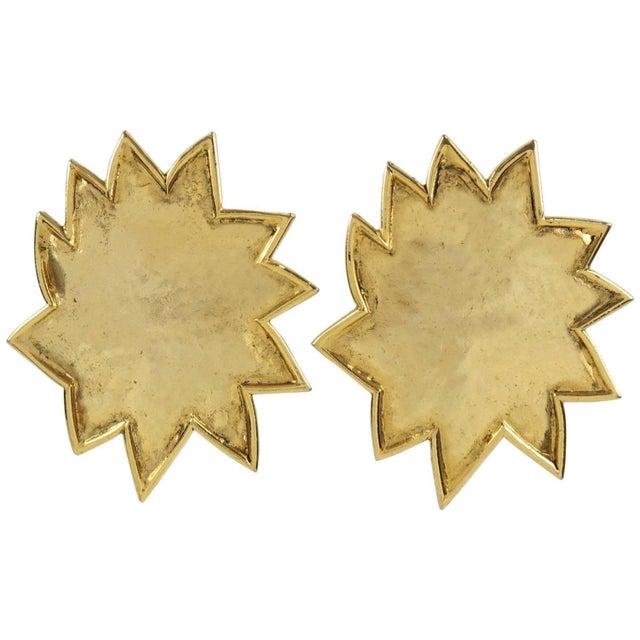 Edouard Rambaud Paris Signed Clip on Earrings Gilt Metal Oversized Sun For Sale In Atlanta - Image 6 of 6