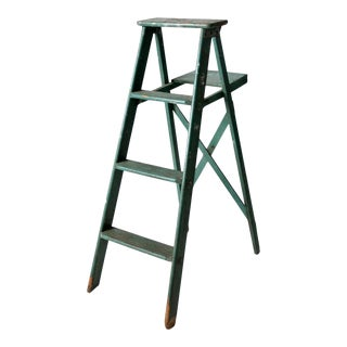 Vintage Green Wooden Ladder For Sale