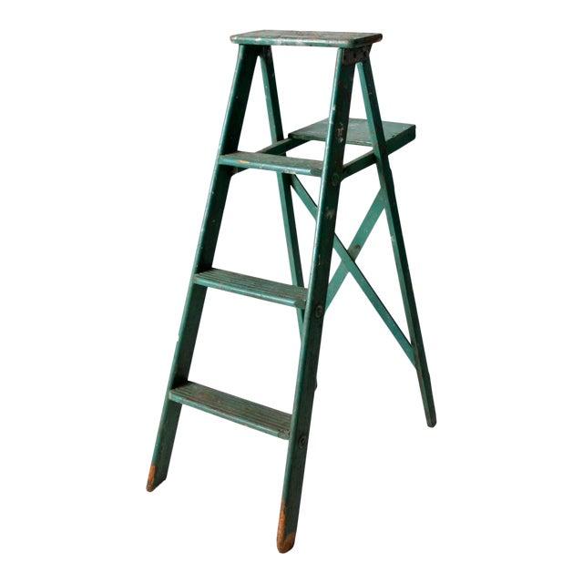 Vintage Green Wooden Ladder For Sale