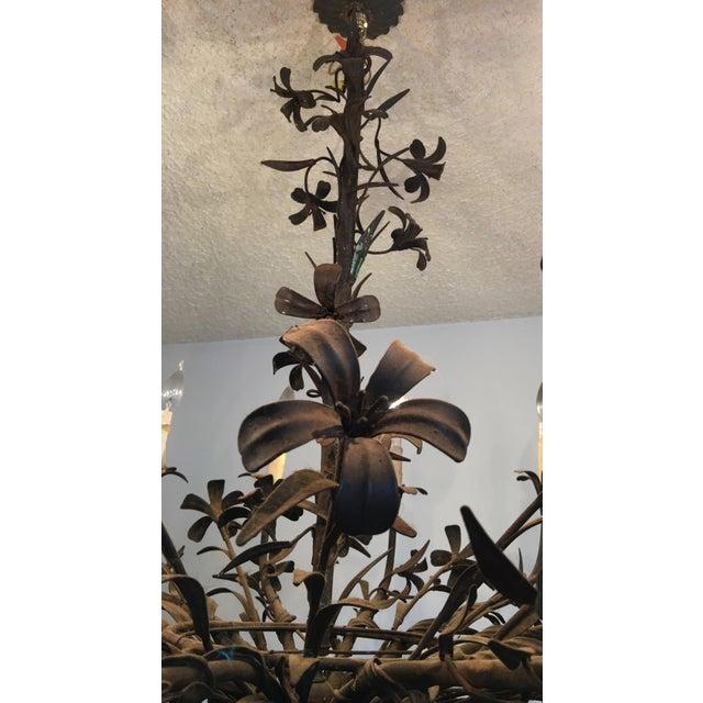 1960s 1960s Hollywood Regency Floral Metal Brutalist Chandelier For Sale - Image 5 of 10
