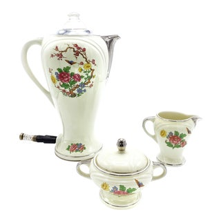 Art Deco Forman Brothers Electric Porcelain Percolator Set - 3 Piece Set For Sale