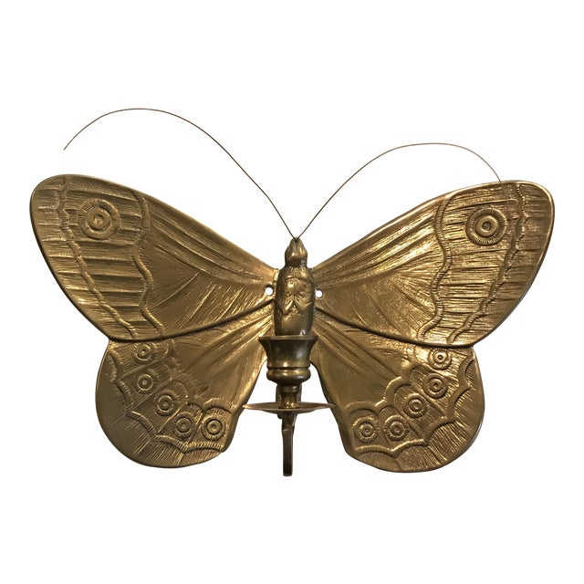 1970s Boho Chic Brass Butterfly Wall Candle Holder For Sale