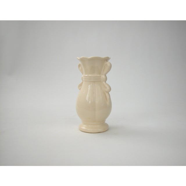 Traditional Cream Vase With Ribbon Handles For Sale - Image 3 of 9