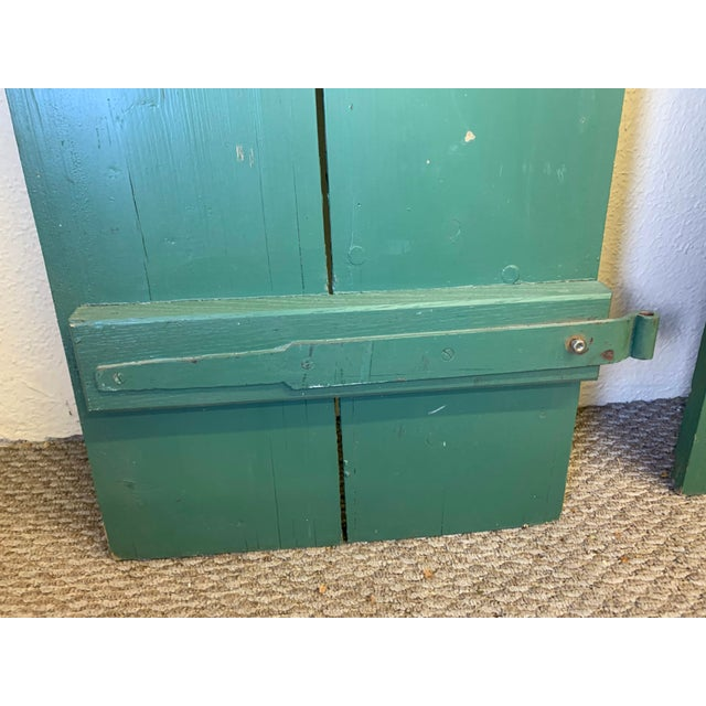 Large Antique Green Painted Window Shutters With Heart Cutouts - a Pair For Sale - Image 11 of 13
