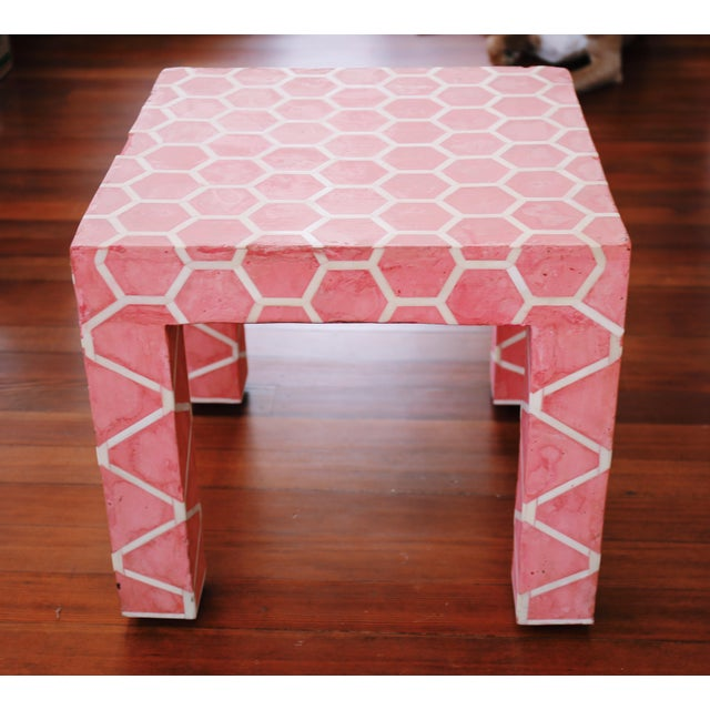 Antique Pink Clay Bone Inlay Honeycomb Side Table For Sale - Image 4 of 9