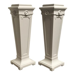 20th Century Georgian Revival Grey Painted Pedestals - a Pair