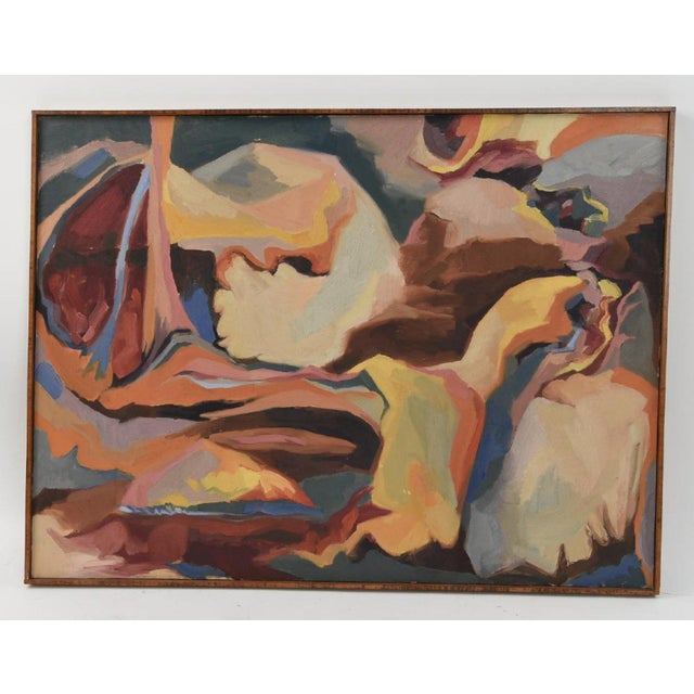 Large Mid-Century Abstract Oil Painting on Canvas For Sale - Image 10 of 10