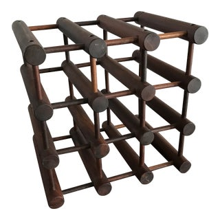 1960s Vintage Richard Nissen Mid-Century Danish Modern Tabletop Wine Rack For Sale