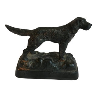 20th Century Figurative Cast Metal Spaniel Figurine For Sale