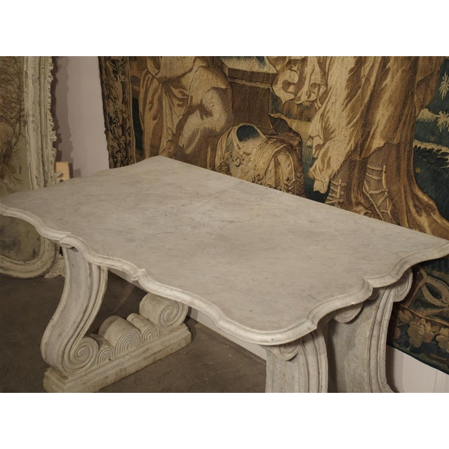French Antique Carved White Marble Console Table from France, 19th Century For Sale - Image 3 of 13