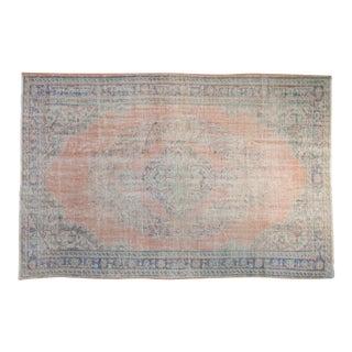 "Vintage Distressed Oushak Carpet - 5'11"" X 9' For Sale"