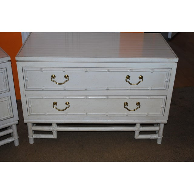 1960s 1960s Hollywood Regency Ficks Reed Matching Nightstands - a Pair For Sale - Image 5 of 11