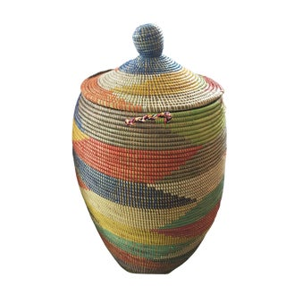 "Lg Basket W/ Lid Senegal West Africa 34"" H For Sale"