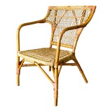 Image of 1970s Vintage Rattan and Wicker Armchair For Sale