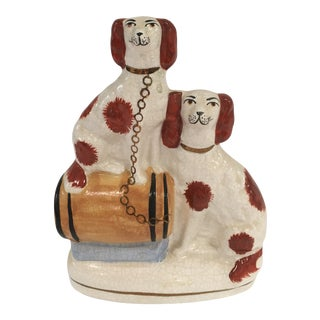 Antique Staffordshire Figurine of Dogs on Barrel For Sale