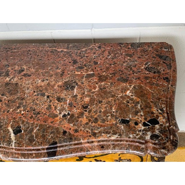Metal Fine Italian Piranesi Topographical Polychromed Marble Top Commode For Sale - Image 7 of 13