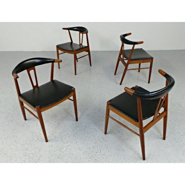 Hans Wegner Style Teak Leather Dining Chairs - 4 - Image 3 of 10