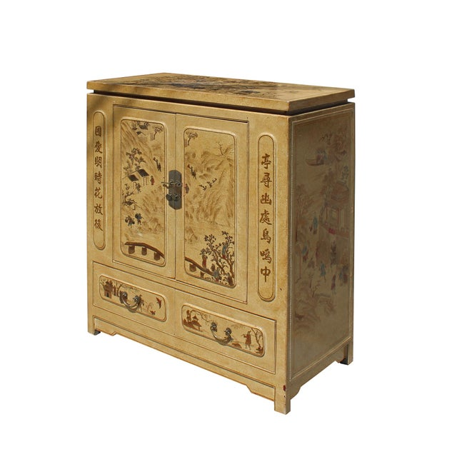 Asian Chinese Golden Beige Veneer Print Graphic Side Table Shoes Cabinet For Sale - Image 3 of 8