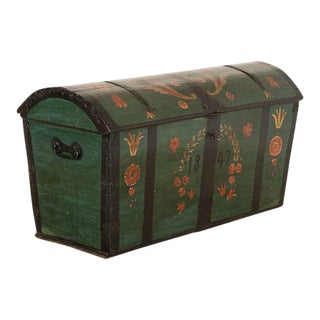 1847 Antique Swedish Domed Top Green Painted Trunk For Sale